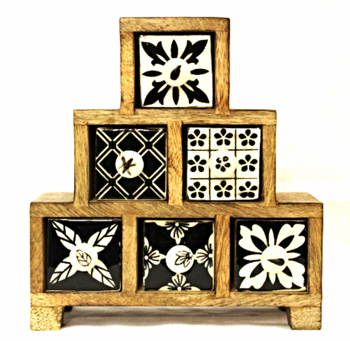 Wooden Box with Ceramic Painted Drawers Black and White Steps