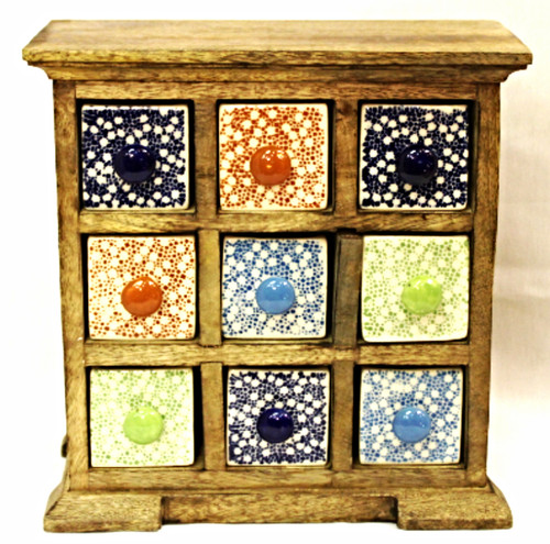 Wooden Box with Colorful Ceramic Painted Drawers