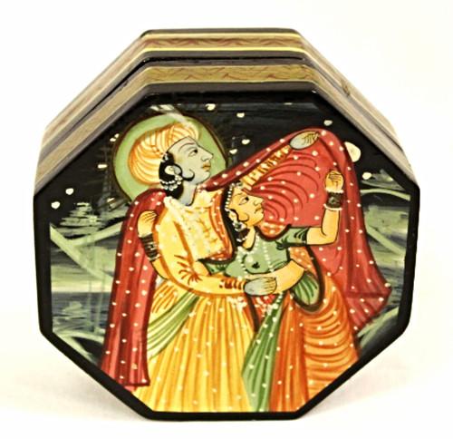 Hand Painted Wooden Box. Krishna and Radha