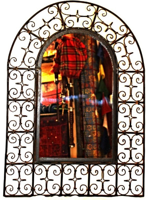 Wrought Iron Mirror Arched Large