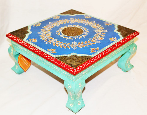 low table, plant stand, accent table, blue table, accent piece blue, blue furniture, painted table, painted furniture, furniture from India, handmade furniture,