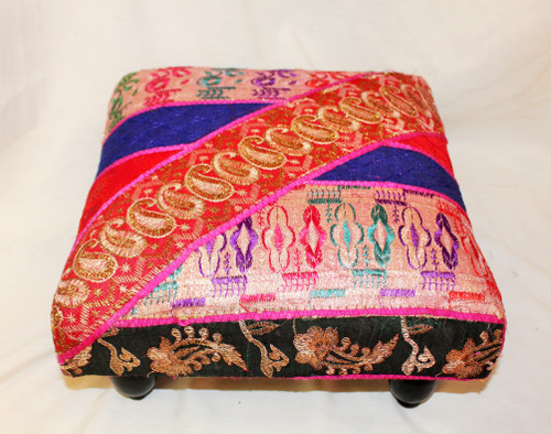 Foot Stool. Vintage Fabric. Patchwork. Red-Blue.
