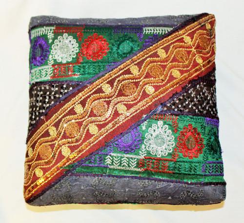 Foot Stool. Vintage Fabric. Patchwork. Golden-Blue.