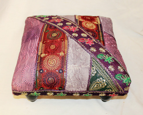 Foot Stool. Vintage Fabric. Patchwork. Lavender color.