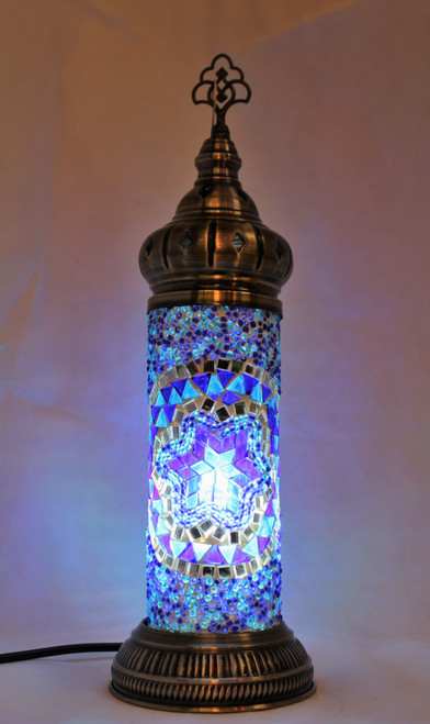 Mosaic Cylinder Table Lamp Blue Star