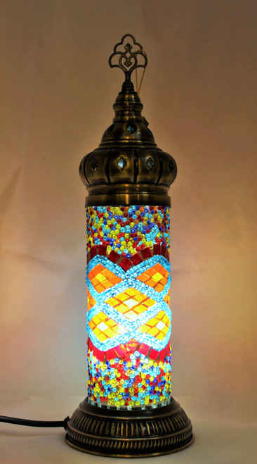Mosaic Cylinder Table Lamp Multi-blue Color Waves