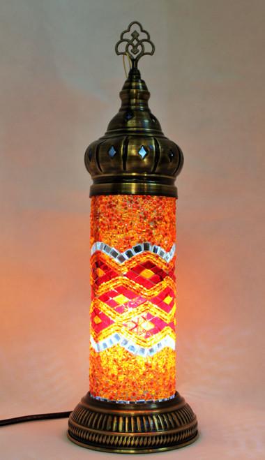 Mosaic Cylinder Table Lamp Red-Orange Waves