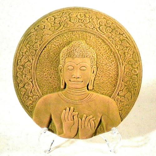 buddha, buddha plaque, bas-relief, thailand buddha, thai buddha, buddha clay, clay bas-relief, home decor, thai home decor, thai statue, thai decorations, thai decoration, Wheel of Dharma, Dharmacakra Mudra,