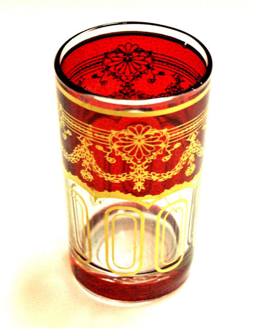 Moroccan Authentic Tea Glass Red