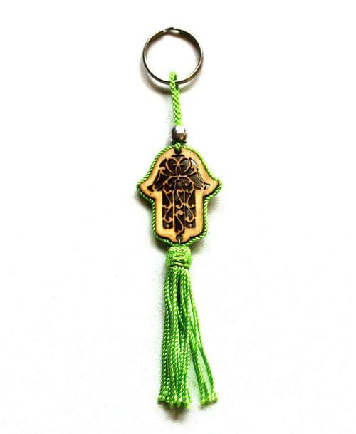Wooden Hamsa Hand with Silk Kaychain
