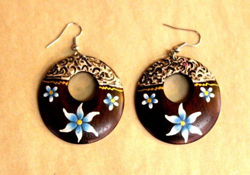 earrings, Wooden earrings, round wooden earrings, handpainted, handmade, light weight earrings, big round earrings, hoops,