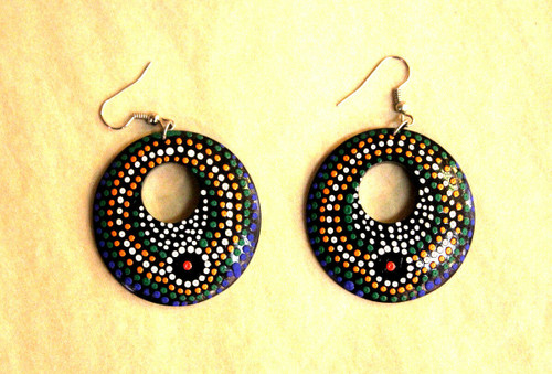 earrings, Wooden earrings, round wooden earrings, handpainted, handmade, light weight earrings, big round earrings, hoops, dot, dot painting technique,