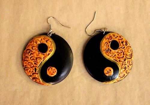earrings, Wooden earrings, round wooden earrings, handpainted, handmade, light weight earrings, big round earrings, hoops, ying yang, ying yang earrings, ying yang jewelry, orange earrings, earrings orange black