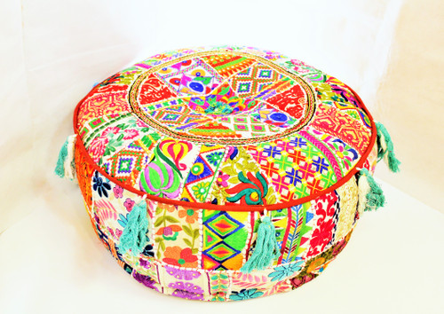 tuffet embroidered, tuffet, embroidered, with small mirrors inlaid, beautiful vintage fabric, home decor from india, colorful poof, low seat, footstool from india, patchwork