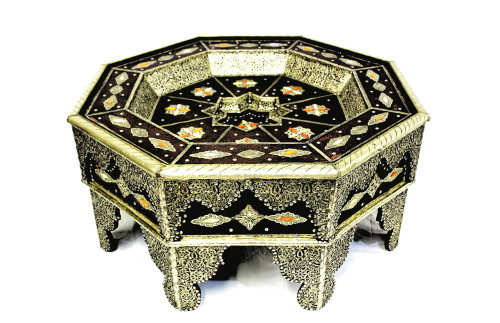 moroccan coffee table, moroccan center piece, center piece, moroccan furniture, moroccan table, high-end furniture, moroccan home decor, moroccan centerpiece, 8 point star, brown leather home decor, brown leather