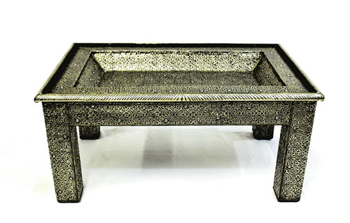 moroccan coffee table, coffee table moroccan, unique furniture, handmade furniture, moroccan furniture, low table, long coffee table, silver coffee table, coffee table silver color,