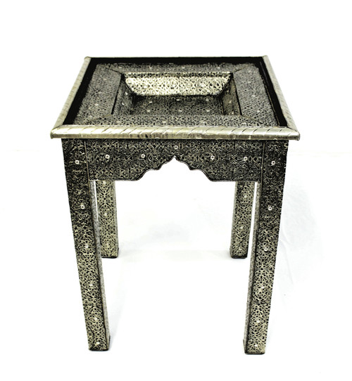 tall table, moroccan table, side table, corner table, metal table, tall moroccan table, unique furniture, handmade furniture, moroccan furniture, high end furniture, upscale furniture, best furniture, accent table, silver furniture, silver table, metal table, hammered metal,