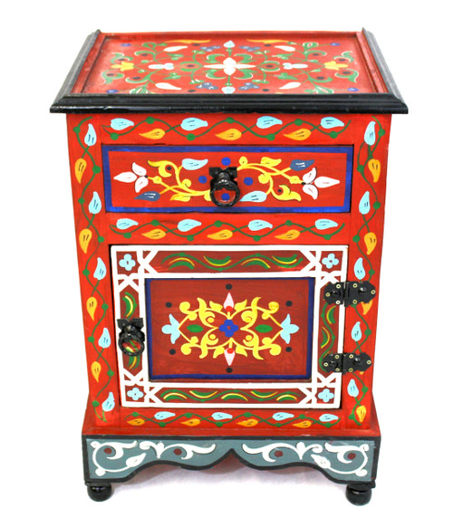moroccan nightstand, moroccan cabinet, moroccan home decor, painted cabinet, small cabinet, nightstand, high-end furniture, luxe furniture, painted furniture, moroccan furniture, moroccan side table, moroccan nightstand red, painted small cabinet, painted nighstand, small painted cabinet, red cabinet, traditional moroccan furniture, red nightstand, fancy nightstand, fancy small cabinet, red fancy cabinet, moroccan nightstand red