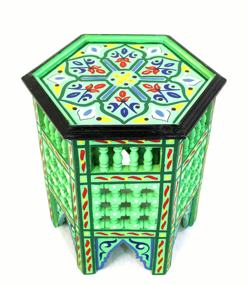 moroccan side table, moroccan furniture, moroccan table, high-end furniture, moroccan home decor, exclusive furniture, handmade furniture, side table, green corner table, moroccan design, moroccan style, moroccan home decor, end table, accent table, moroccan painted table, side table green, side table,  painted table, side table painted, side table with design, side table with pained design, hexagon table, painted green table, moucharabi table, moroccan moucharani table, moucharabie table, green, moucharabi table green