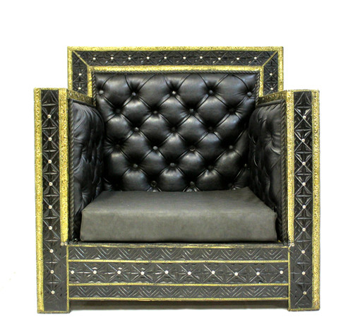 armchair, chair, black armchair, leather armchair, handmade furniture, moroccan furniture, moroccan home decor, moroccan home design, moroccan room, black furniture, armchair black leather, high end furniture, luxury furniture, black and gold furniture,