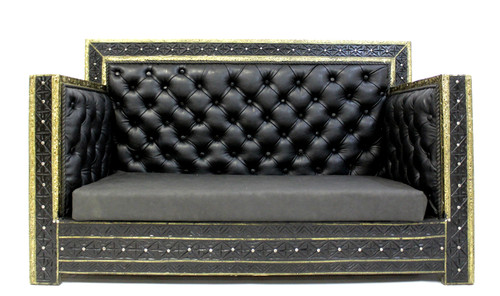 loveseat, armchair, chair, black loveseat, leather loveseat, handmade furniture, moroccan furniture, moroccan home decor, moroccan home design, moroccan room, black furniture, loveseat black leather, high end furniture, luxury furniture, black and gold furniture,