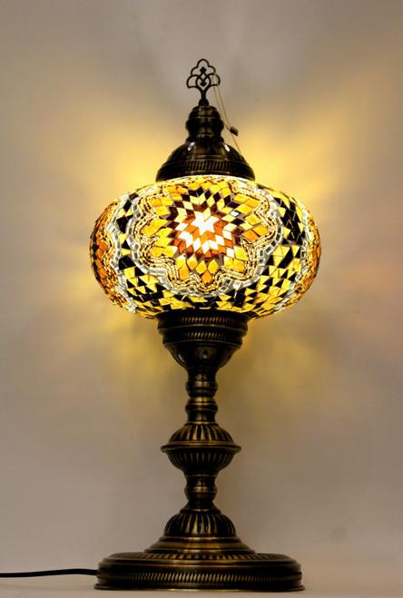 mosaic lamp, Turkish lamp, Tiffany lamp, table lamp, desk lamp, mood light, accent light, amber lamp, yellow table lamp, desk lamp yellow, desk lamp Tiffany style, mosaic inlay, desk lamp mosaic amber, amber, yellow, brown, black and gold,