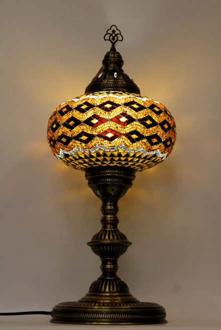 mosaic lamp, Turkish lamp, Tiffany lamp, table lamp, desk lamp, mood light, accent light, amber lamp, yellow table lamp, desk lamp yellow, desk lamp Tiffany style, mosaic inlay, desk lamp mosaic amber, amber, yellow, brown, black and gold,