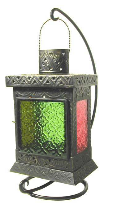 candleholder, lantern, colorful glass, outdoor lantern, indoor lantern, candle holder, red candleholder, green candleholder,