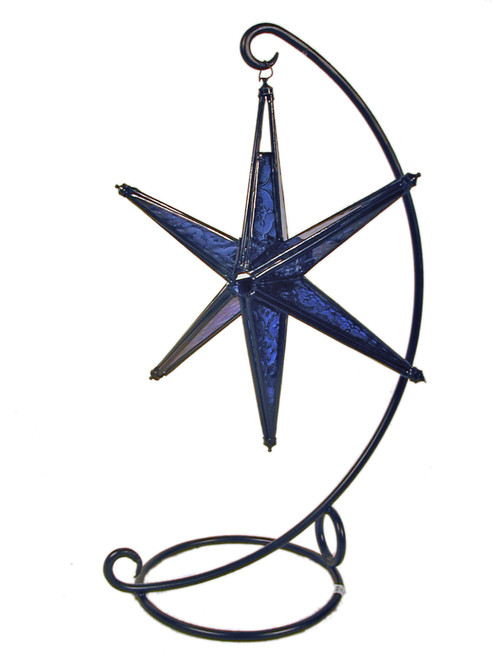star candleholder, candleholder, candle holder, textured glass, 6-point star, blue star, blue candleholder, blue star of David, blue star candleholder, star of David, porch decor, handing candleholder, home decor, star to hang, patio decoration, window decoration, star, blue,