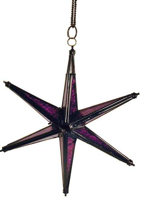 star candleholder, candleholder, candle holder, textured glass, 6-point star, purple star, purple candleholder, purple star of David, purple star candleholder, star of David, porch decor, handing candleholder, home decor, star to hang, patio decoration, window decoration, star, purple, purple glass,