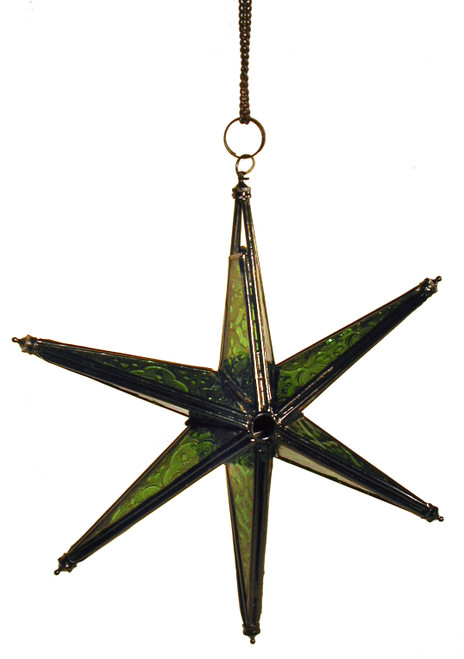 star candleholder, candleholder, candle holder, textured glass, 6-point star, green star, green candleholder, green star of David, blue star candleholder, star of David, porch decor, handing candleholder, home decor, star to hang, patio decoration, window decoration, star, green, green glass