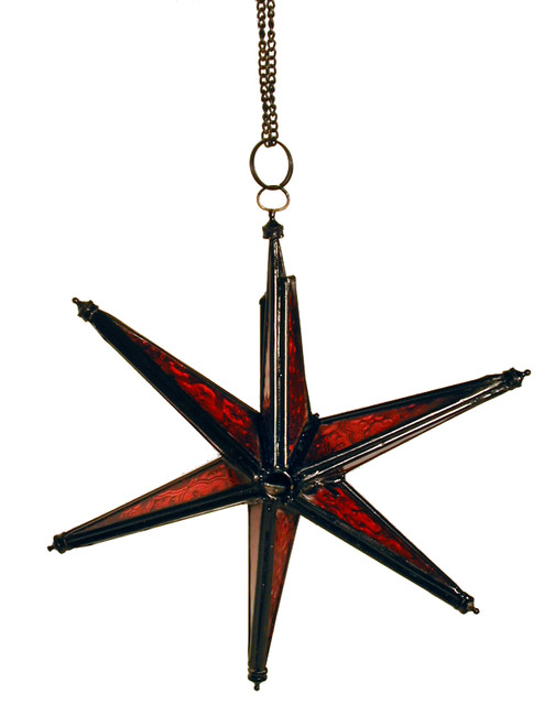 star candleholder, candleholder, candle holder, textured glass, 6-point star, red star, red candleholder, red star of David, red star candleholder, star of David, porch decor, handing candleholder, home decor, star to hang, patio decoration, window decoration, star, red,