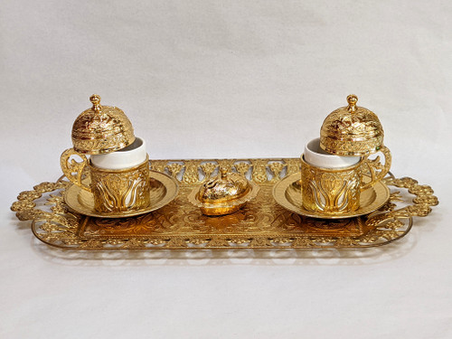 Turkish Coffee set for 2, gold color, includes 2 cups with lids, tea tray, sugar-bowl, traditional, turkish, coffee cups, cups with lids, coffee set, tea set, gold,