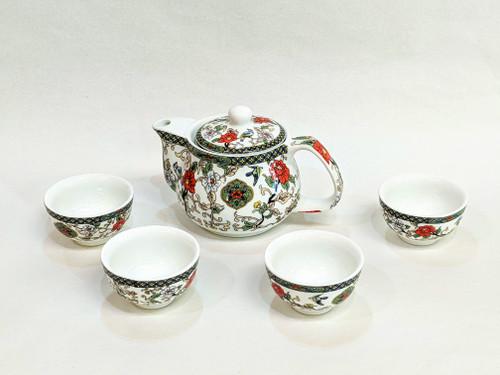tea set, Asian tea set, Chinese tea set, tea set for 4, ceramic tea set, traditional tea set, painted tea set, nice gift, tea pot with cups, Chinese tea pot, red flowers, painted bird,