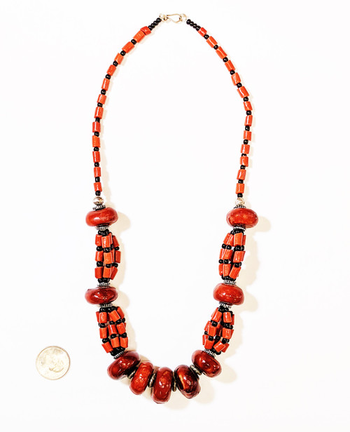 moroccan necklace, authentic moroccn jewelry, coral necklace, red and black coral, red coral string, moroccan jewelry, moroccan traditional jewelry, african jewelry, handmade jewelry, handmade coral necklace