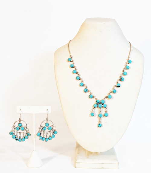 Turquoise, natural turquoise, turquoise earrings, turquoise necklace, turquoise jewelry, turquoise jewelry set, jewelry set, silver jewelry, sterling silver with natural stones, sterling silver jewelry, blue necklace, blue jewelry set, handmade jewelry