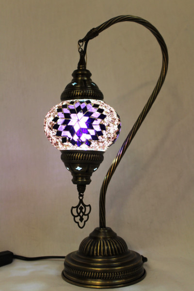 Mosaic Small Swan Table Lamp Purple
