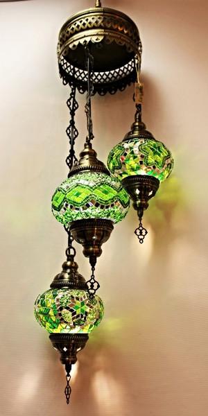 Mosaic Ceiling Lamp 3 Globes Green