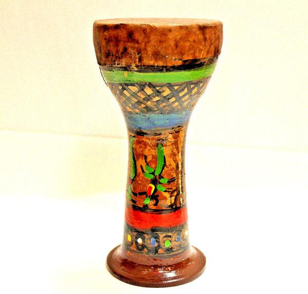Moroccan Painted Fishskin Ceramic Finger Drum