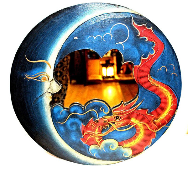 Sun and Moon, blue Round Mirror, Wall Decor, Nice Gift, decorative mirror, pacific home decor, indonesian home decor, sun and moon mirror, mirror sun and moon, sun and moon home decor, BLUE mirror, blue mirror round, dragon home decor, red dragon, mirror with dragon, dragon mirror,