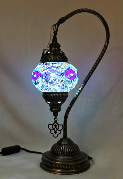 Mosaic Small Swan Table Lamp Blue
