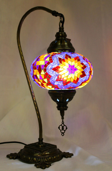 Mosaic Swan Table Lamp Multi-Color Star Classic Blue