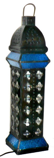 Tower Lamp night light, floor Lamp Stained Glass, High-End Lighting, Lamp with metal design, desk lamp tall blue, mood light, floor lamp, floor lamp blue, home decor, light fixture,