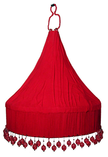 Red Ceiling Lampshade with Beads