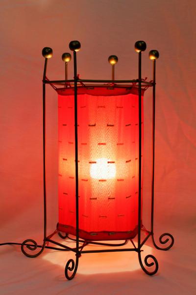 Red Fabric Floor Lamp Hexagonal