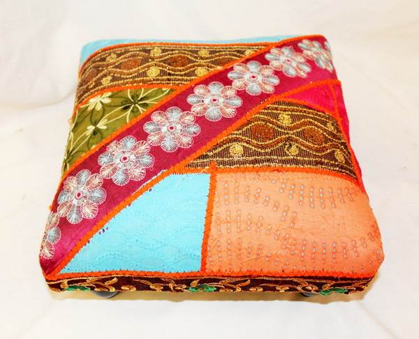 Foot Stool. Vintage Fabric. Patchwork. Spring Colors.