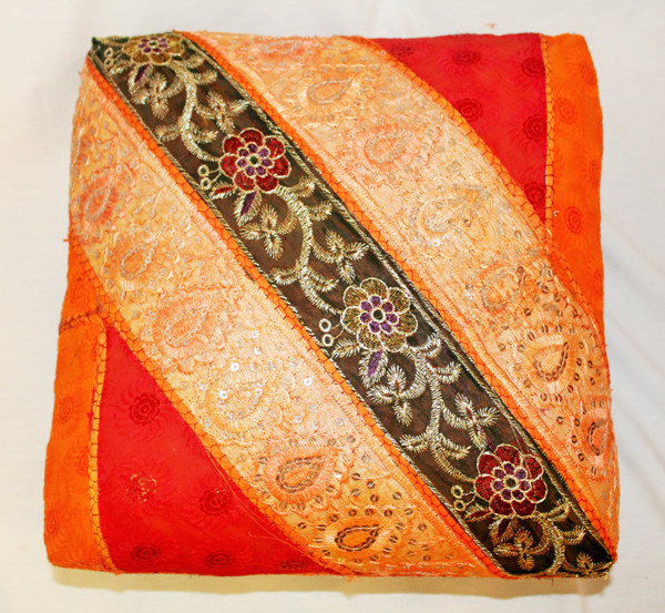 Foot Stool. Vintage Fabric. Patchwork. Orange.