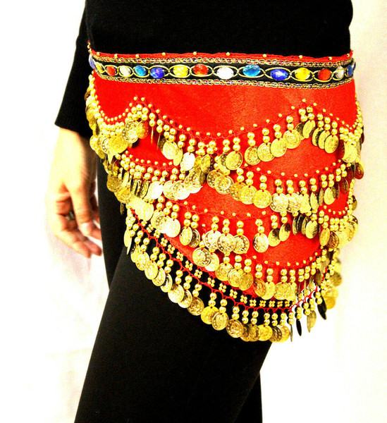 High Quality Belly Dancing Hip Scarf Red
