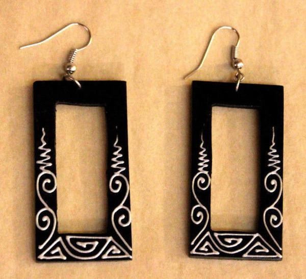 earrings, Wooden earrings, long wooden earrings, handpainted, handmade, light weight earrings, long earrings, rectangle, black wooden earrings, design on earrings, handmade earrings