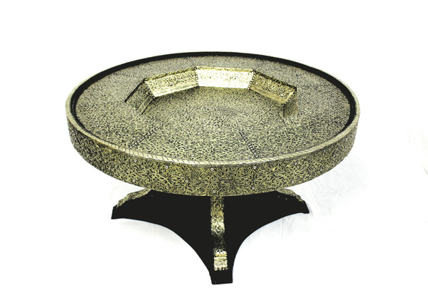 moroccan table, dining table moroccan, moroccan round table, round table, high-end furniture, metal furniture, dining table, dining table round, hammered metal